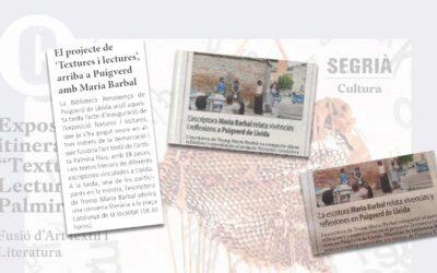 Repercusión en los medios de la exposición Texturas y Lecturas en Puigverd